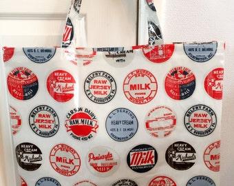 Large retro theme oilcloth tote bag