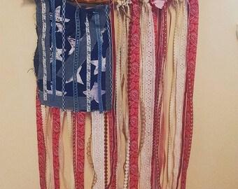 Flag made of ribbon and denim