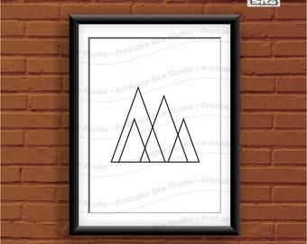 Minimalist Wall Art, Black and White, Mountains Print, Geometric Wall Art, Scandinavian Art, Minimalist Mountains, Line Art, Printable Art