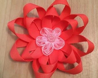 Coral Flower Hair Bow
