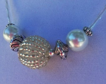 Silver and Pearly White Beaded Necklace
