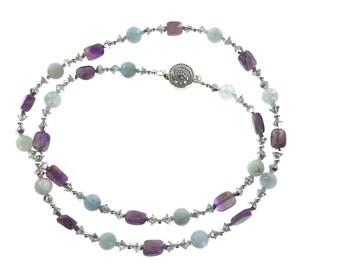 Amethyst, Aquamaine and Swarovski White Crystal Necklace