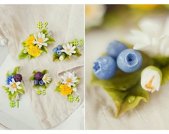dandelion hair clip, blackberry hair clip, blueberry hair clip, rustic hair clip, daizy jewellery, dandelion bridal jewellery, bridal