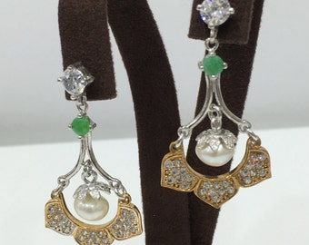 Handmade Ottoman Style 925 Sterling Silver Earrings With Emerald,Pearl and Zircon