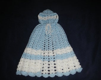 Newborn/Infant Cape w/ Hood Blue/White