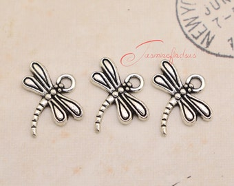 50PCS--17x16mm Dragonfly charms, Antique Tibetan Silver Mini Dragonfly charm Pendants, DIY Findings, Jewelry Making