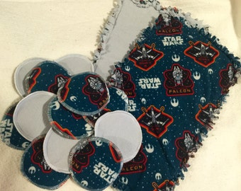 Star wars reusable and washable nursing pads and burp cloth gift set