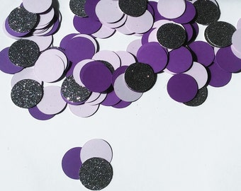 Purple, Lavender and Dark Silver Glitter Confetti  (150 pieces) Die Cut - Birthday, Wedding, Shower Table Decorations