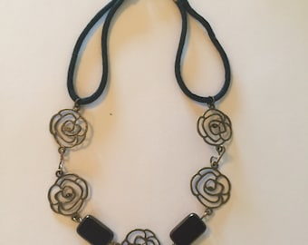 """Eye catching choker necklace, open detail pieces and brown glass beads, wraps around the neck with black cording, 13"""", original design"""