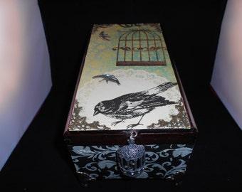 Memory Box, Up-Cycled Cigar Box, Vintage, Jewelry Box, Keepsake Box, Trinket Box, Wooden Storage Box
