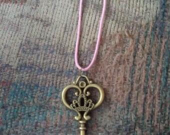 Crown Heart Key Necklace