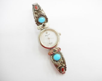 Sterling Navajo Watch, Native American Watch, Robert Becenti Watch, Lucoral Sterling Watch, Turquoise Watch, Sterling Watch,   #2421