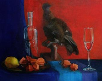 Still life with bird; oil painting