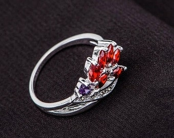 925 Sterling Silver Rose and Violet Ring