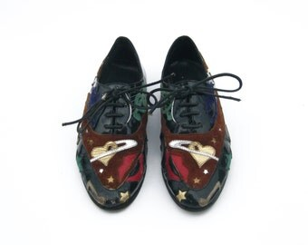 RARE Graphic Patent Leather & Suede 80s Jazz Abtrax Oxfords (Size 7W)