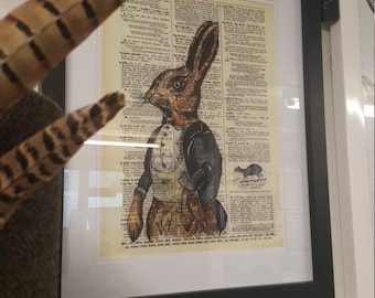 Watercolour rabbit on vintage book page art print picture