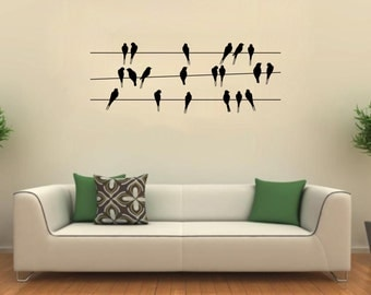 Birds on a Wire Wall Art Decal Mural Lounge Dining Hallway Bedroom Sticker