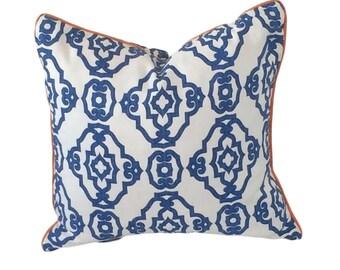 Navy Blue Pillow, Decorative Pillow, White Pillow, Geometric Print, Ogee Print Pillow, Trellis Print Pillow, Child Pillow