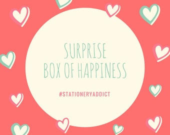 Surprise Box and of Happiness, Stationery, Gifts, Party. Pens. Back to school. Planner