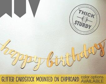 Happy Birthday banner, Gold Glitter party decorations, custom birthday banner, cursive banner
