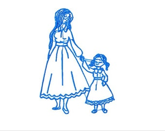 Bluework Mother and Daughter Machine Embroidery Design, 5x7 Hoop, 9 Formats, Blue work Mom and Daughter Embroidery