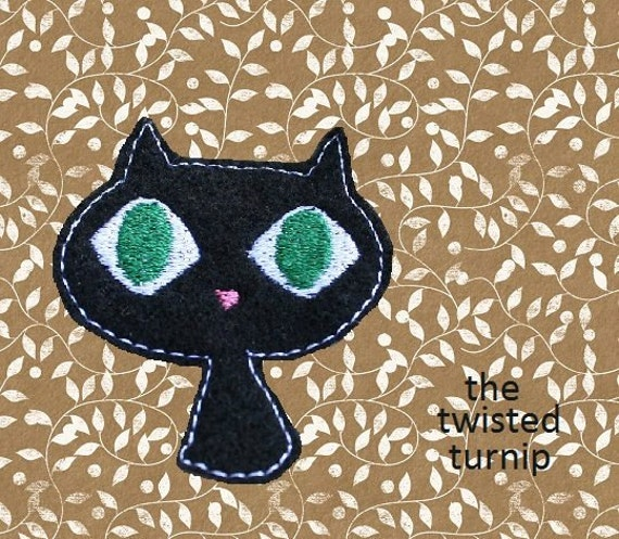 Cute Black Cat Fall Halloween Feltie Felt Felty 2 Embroidery Design Design Instant Download 4x4 Hoop by The Twisted Turnip