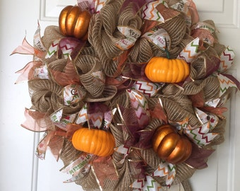 Deco Mesh Fall Wreath