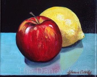 Apple and Lemon, still life, original oil painting.
