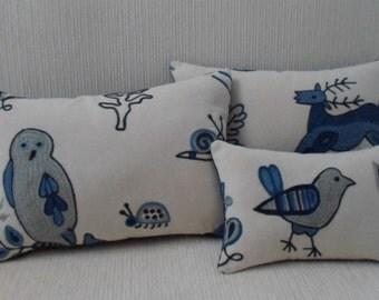 BRUNSCHWIG & FILS blue/cream animal crewel embroidery trio of pillows