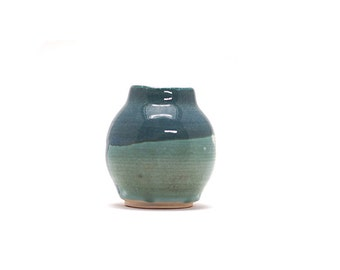 Hand Thrown Vase, 2 tone, green and blue