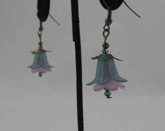 Green and Purple Tulip Dangling Earrings