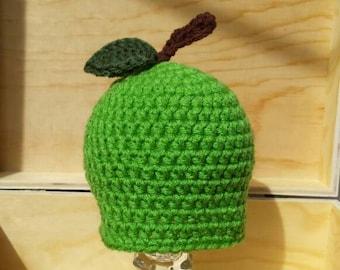 SALE apple hat- newborn apple hat- baby hat-newborn photo prop-crochet baby hat-ready to ship-fall hat