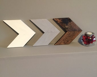 White, grey, brown wooden Arrow wall decor set of 3