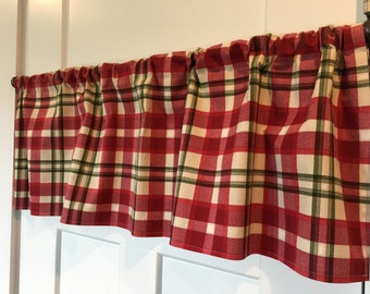 red plaid curtains etsy