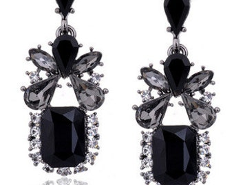 Vintage Style Black Elegant Crystal Earrings EA6029i