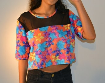 70's Inspired Mesh Floral Crop Top