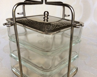 Vintage STACKED CONDIMENT CADDY Square, Etched Glass, Hammered Metal Lid Stamped Ginza