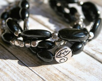 Three Strand Black Beaded Bracelet, Black Beaded Bracelet, Silver Beaded Bracelet, Multistrand Bracelet, Beaded Jewelry, Black Bracelet