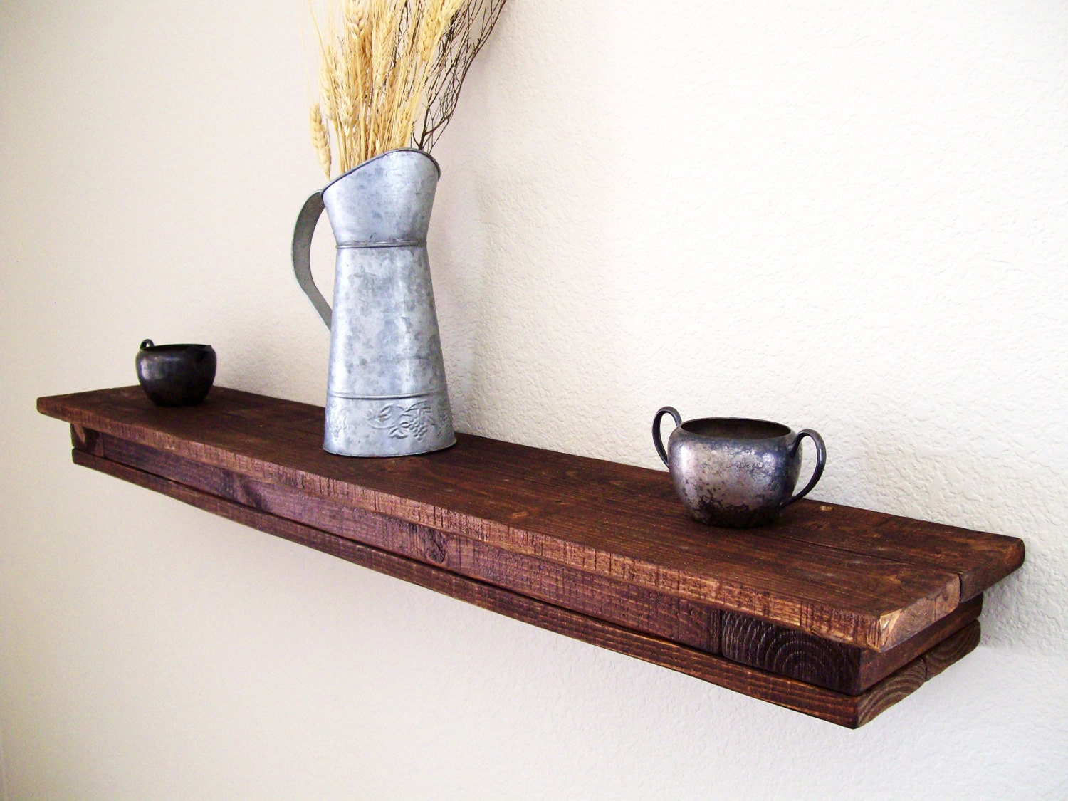 rustic floating shelf floating shelves wall shelf wood shelf. Black Bedroom Furniture Sets. Home Design Ideas