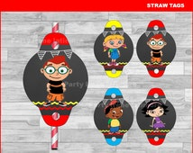 Little Einsteins Straw Tags Instant download, Little Einsteins Chalkboard toppers,  Little Einsteins party Straw Tags