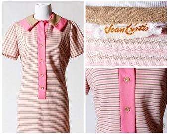 Vintage Women's Dress - 70s Joan Curtis Retro Pink Brown