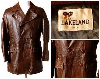 Vintage Men's Leather Coat Lakeland - Retro British With Beautiful Detail Medium M