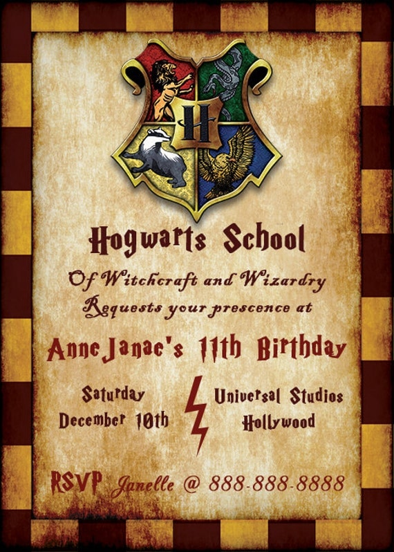 harry potter birthday invitation customized digital download