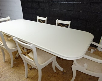 Mahogany Twin based Dining Table with Claw feet & 6 chair's including 2 Carver's