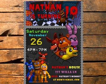 Five Nights at Freddy's Birthday Invitation, FNAF Invitation, Five night at freddy, FNAF Invite,Five Nights at Freddy's Invitation