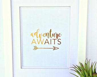 Personalized Gold Foil Print, Personalized Gift, Adventure Awaits, Gift for Her, Anniversary, Birthday, Bridal Shower, Wedding