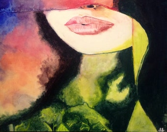 """Seductive Lips on a Wood Canvas 