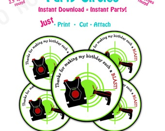 Laser Tag Birthday Party  Favor Tags -- Instant Download -  Printable  Laser tag  Party Favor Tags
