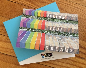 Follow Your Dreams Greeting Card | note cards | Rainbow Colors | Steps