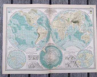Vintage world map journal etsy antique 1897 map from new century atlas 16x11 the world the hemispheres gumiabroncs Gallery